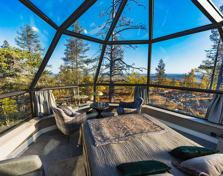 Sleep under the arctic sky and Northern Lights at glass igloos.
