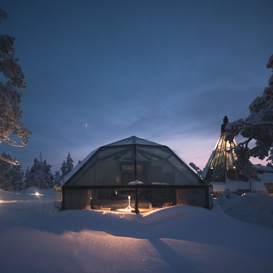 Stay in the igloo hotel or a landscape apartment.