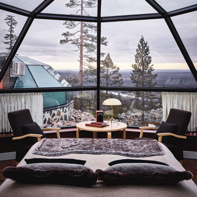 The glass igloo offers you an amazing Lappish experience.