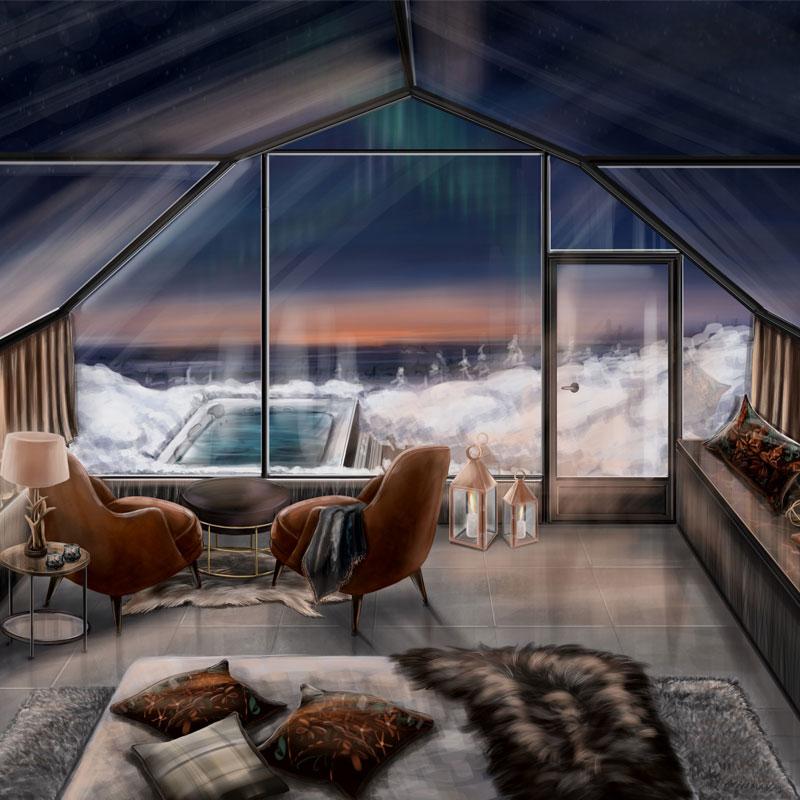 Suite iglussa on yleellinen varustelu ja oma poreallas.